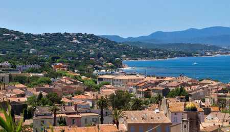 tropez: Architecture of Saint Tropez city from above. French Riviera, France.