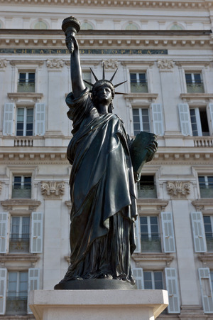 coubertin: Statue of Liberty. The last copy of the famous statue de Coubertin foundry, signed by A.Bartholdi, was inaugurated in city of Nice, France.