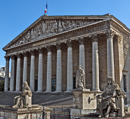 The National Assembly - Bourbon palace the french parliament in Paris.