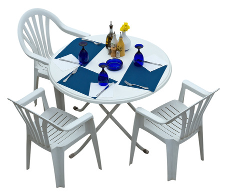 Plastic table with chairs isolated on white. Clipping path included.