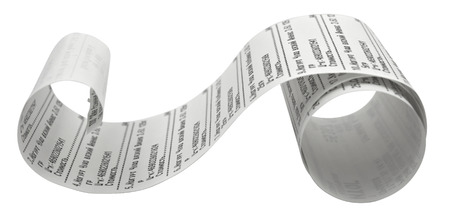 Fiscal receipt isolated on white background. Clipping path included.