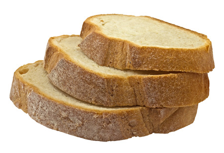 provision: Slices of traditional homemade bread isolated on a white. Clipping path included.