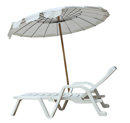 lounger: White umbrella and sun lounger isolated on white. Clipping path included.