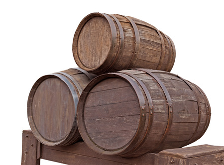 iron hoops: Three wooden barrels for wine with steel ring isolated on white. Clipping path included.