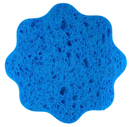 Blue sponge isolated over white background. Clipping path included. photo