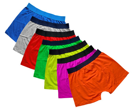 man in underwear: Seven colorful underwear isolated on the white background.