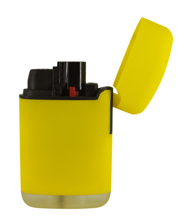 smocking: Yellow lighter isolated on white. Clipping path included.