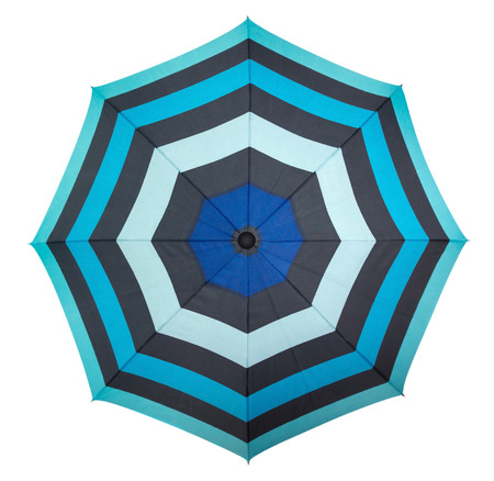 white beach: Beach umbrella isolated on white, top view. Clipping path included. Stock Photo