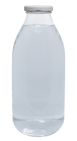 glass bottle: Small glass bottle of water isolated on white.