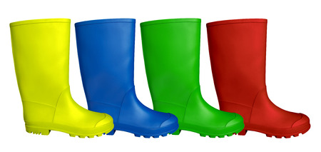 galoshes: Colorful rubber boots  isolated on white.