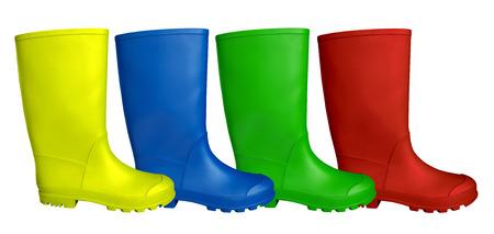 Kleurrijke rubberen laarzen geïsoleerd op wit. Stockfoto
