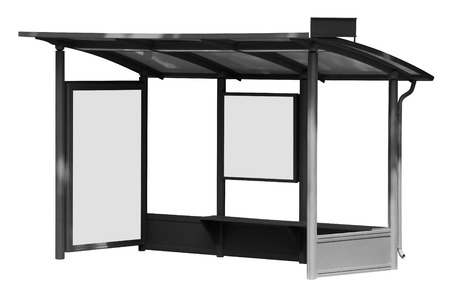 bus station: Bus stop with blank banners isolated on white background. Clipping Path included. Stock Photo