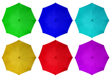 Colorful umbrellas isolated on white background.