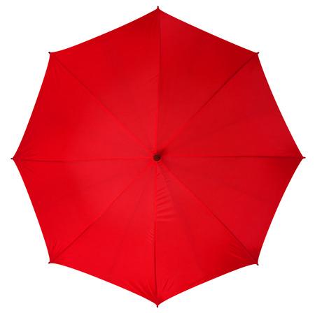 lluvia paraguas: Paraguas rojo aislado sobre fondo blanco. Foto de archivo