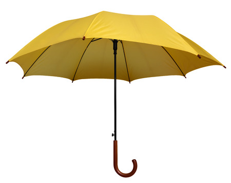 yellow umbrella: Yellow umbrella isolated on white background. Clipping path included.