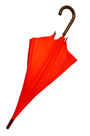 Red umbrella isolated on white background. Clipping path included. photo