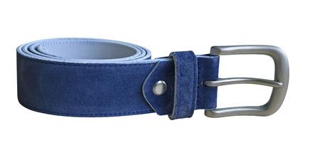 suede belt: Cintur�n de gamuza azul aislado en blanco. Trazado de recorte incluido.