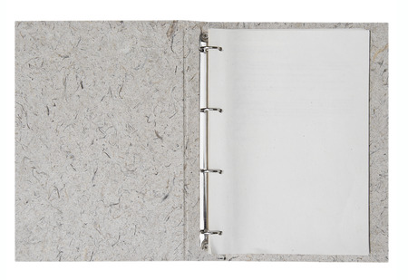 folder with documents: Opened folder with blank papers, clipping path included.