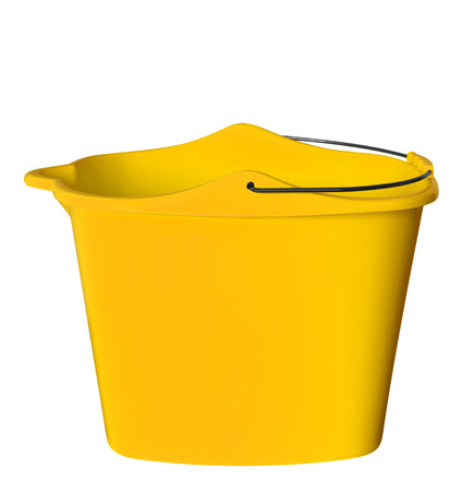 Yellow plastic bucket isolated on white background. Clipping path included.