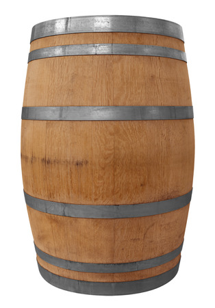 iron hoops: Wooden barrel for wine with steel ring. Clipping path included.