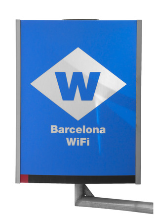 Free public WiFi hotspot with sign in Barcelona. Isolated on white. Clipping path included.