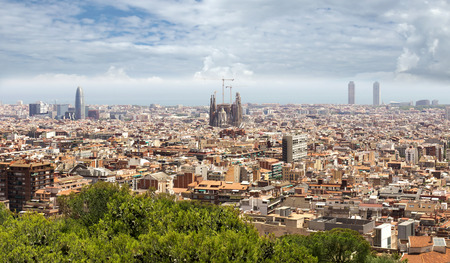 barcelona cathedral: Panoramic view of Barcelona from Park Guell in a summer day in Spain.