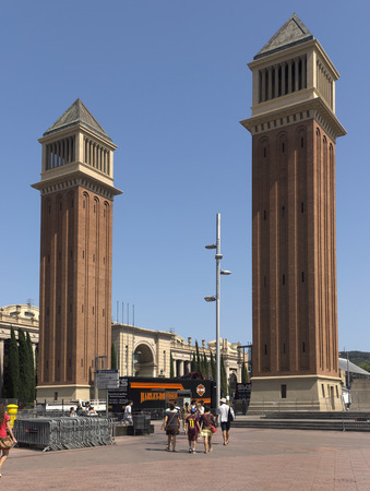 espanya: BARCELONA, SPAIN - JULY 6, 2015: Two Venetian towers located at Placa d'Espanya in Barcelona. The most beautiful square in the Catalan capital.
