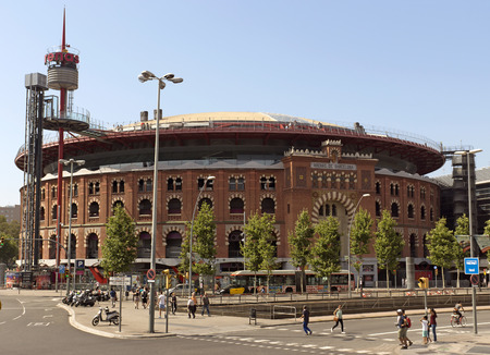 arenas: BARCELONA, SPAIN - JULY 6, 2015: Facade of Arena shopping mall, former bullring of Las Arenas in Barcelona, Spain.