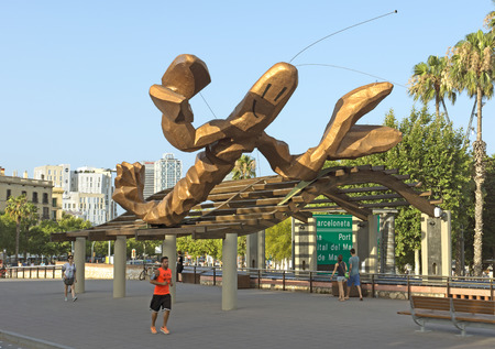 colom: BARCELONA, SPAIN - JULY 6, 2015: The lobster sculpture, called Gambrinus, on the Passeig de Colom is at the entry to Barcelonas Port Vell. It was designed by Javier Mariscal  for the Olympic Games.