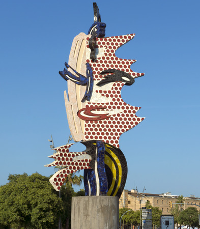 colom: BARCELONA, SPAIN - JULY 6, 2015: Public statue situated on the Passeig de Colom is at the entry to Barcelonas Port Vell. It was designed for the Olympic Games.
