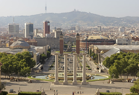 montjuic: BARCELONA, SPAIN - JULY 6, 2015: Barcelona view from Montjuic mountain. Catalonia, Spain. Editorial