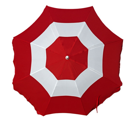 Opened beach umbrella with red and white stripes isolated on white. Top view. Clipping path included.