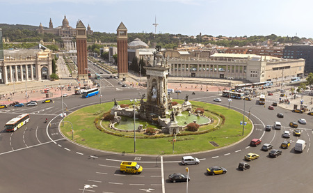barcelona: BARCELONA, SPAIN - JULY 8, 2015: View top to The Placa dEspanya in Barcelona. The most beautiful square in the Catalan capital.