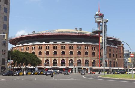 bullring: BARCELONA, SPAIN - JULY 8, 2015: Facade of Arena shopping mall, former bullring of Las Arenas in Barcelona, Spain.