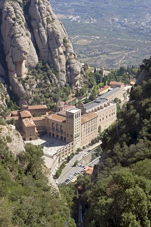 europe: The Benedictine abbey Santa Maria de Montserrat in Monistrol de Montserrat, Spain. It hosts the Virgin of Montserrat, the favourite in Catalonia. Stock Photo