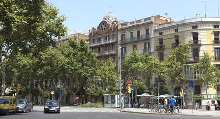 barsa: BARCELONA, SPAIN - JULY 12, 2015: Typical landscape of one urban district in Barcelona, Spain.
