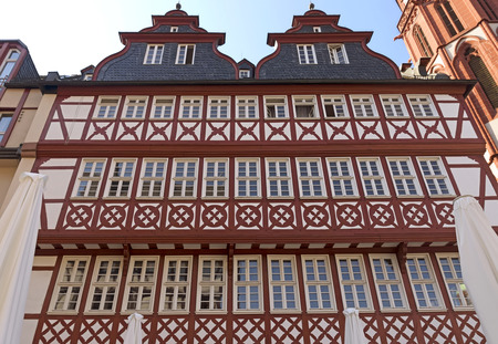 roemerberg: FRANKFURT AM MAIN, GERMANY - JULY 2, 2015: Buildings of Roemerberg square in Frankfurt, Germany. Frankfurt is the fifth-largest city in Germany.