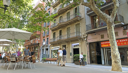 BARCELONA, SPAIN - JULY 12, 2015: Architecture along the Rambla of Barcelona, Spain.