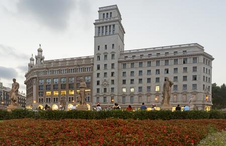 barsa: BARCELONA, SPAIN - JULY 11, 2015: Night view of Plaza De Catalunya (Square of Catalonia) in Barcelona. Spain.