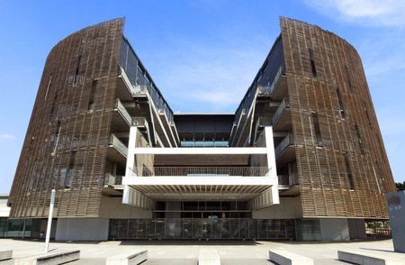 biomedical: BARCELONA, SPAIN - JULY 12, 2015: Building of Biomedical Research Park (Parc de Recerca Biomedica) in Barcelona, Spain. With R&D budget of approx 80 million euros year and cutting-edge scientific equipment.
