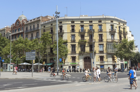 barsa: BARCELONA, SPAIN - JULY 12, 2015: Typical landscape of one urban district in Barcelona, Spain.