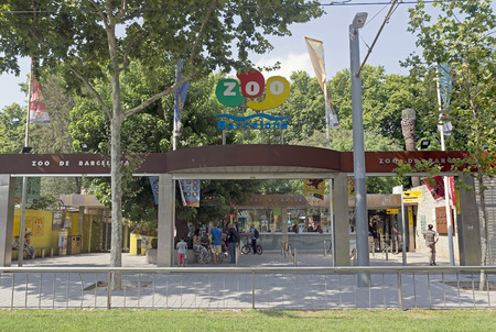 BARCELONA, SPAIN - JULY 12, 2015: Main entrance of Barcelona zoo, Spain. Founded in 1892.