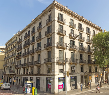barsa: BARCELONA, SPAIN - JULY 6, 2015: Typical architecture of one urban district in Barcelona, Spain.