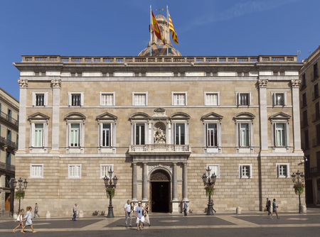 generalitat: BARCELONA, SPAIN - JULY 6, 2015: The Palau de la Generalitat is a historic palace in Barcelona, Catalonia, Spain. It houses the offices of the Presidency of the government of Catanonia. Editorial