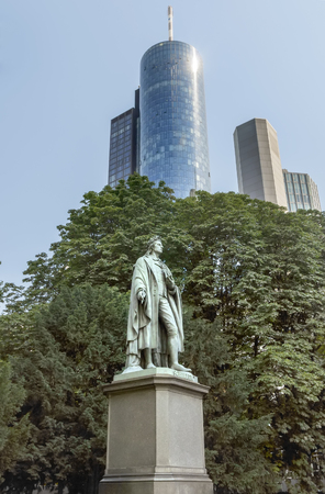 dramatist: FRANKFURT AM MAIN, GERMANY - JULY 2, 2015: Statue of Johann Christoph Friedrich von Schiller in Frankfurt am Main, Germany, a German poet, philosopher, historian and playwright. Year 1864.