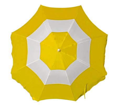 yellow umbrella: Opened beach umbrella with yellow and white stripes isolated on white. Top view. Clipping path included. Stock Photo