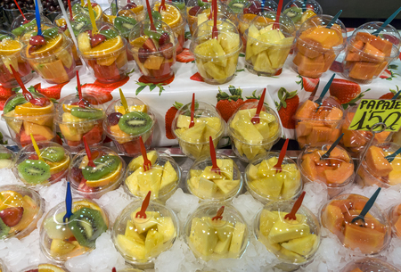 boqueria: Healthy fruit salad for sale at Boqueria market, Barcelona, Spain.