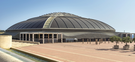 olympic ring: BARCELONA, SPAIN - JULY 6, 2015: Palau Sant Jordi (St. Georges Palace) is an indoor sporting arena part of the Olympic Ring complex located in Montjuic district of Barcelona. Palau Sant Jordi designed by japanese architect Arata Isozaki.