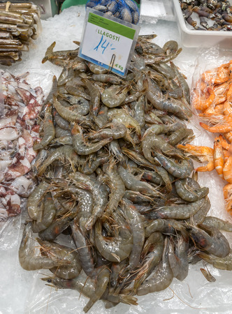 boqueria: Fresh shrimps for sale at the Boqueria market in Barcelona, Spain. Stock Photo