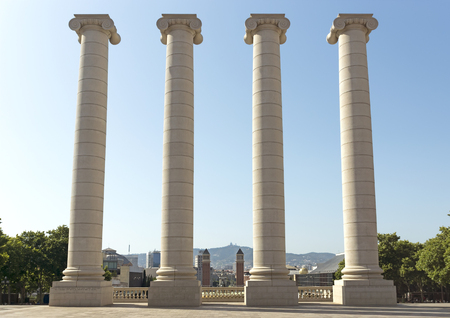 josep: BARCELONA, SPAIN - JULY 8, 2015: The Four Columns, created by Josep Puig i Cadafalch, is on the place in front of Museu Nacional dArt de Catalunya, Barcelona, Spain.